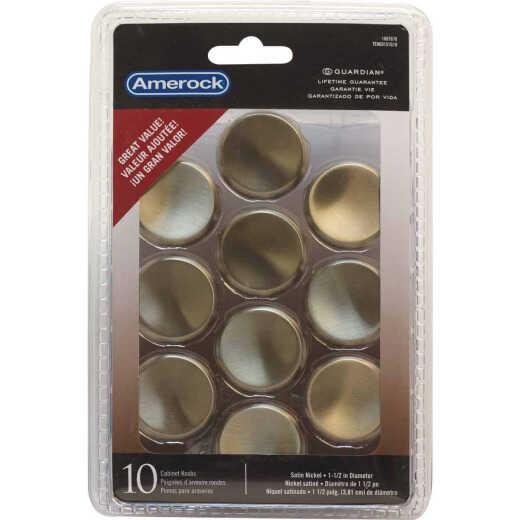 Amerock Allison Satin Nickel 1-1/2 In. Cabinet Knob, (10-Pack)