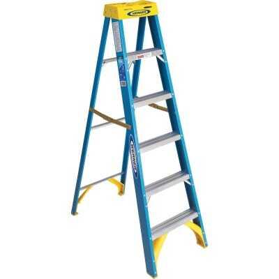 Werner 6 Ft. Fiberglass Step Ladder with 250 Lb. Load Capacity Type I Ladder Rating