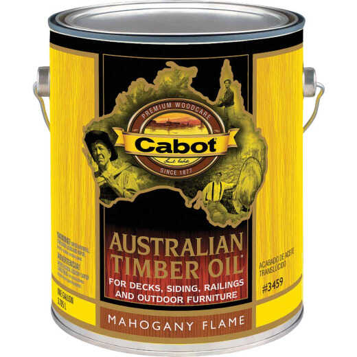 Cabot Australian Timber Oil Translucent Exterior Oil Finish, Mahogany Flame, 1 Gal.